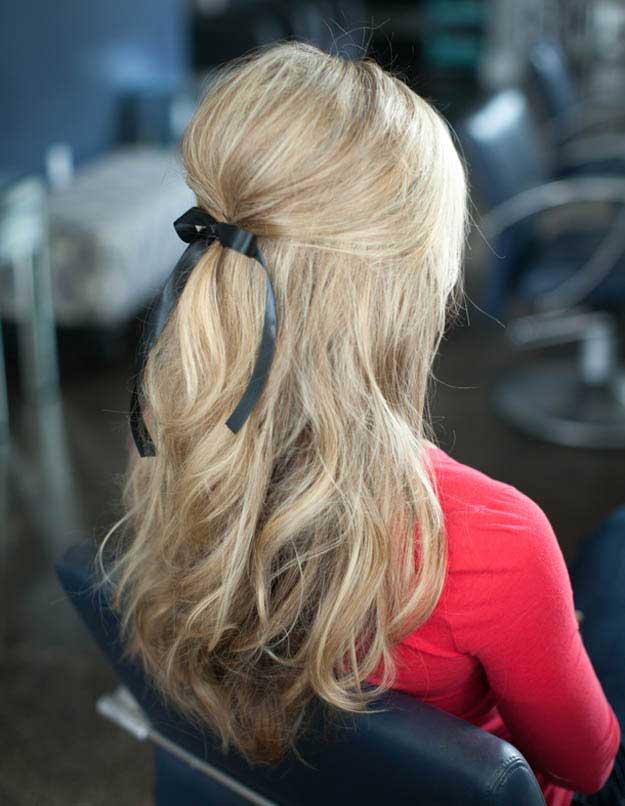 مدل موی نیمه جمع با روبان