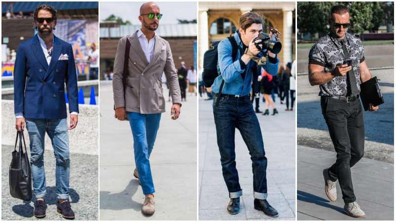 چند مرد با استایل های مختلف با کفش دربی و شلوارجین