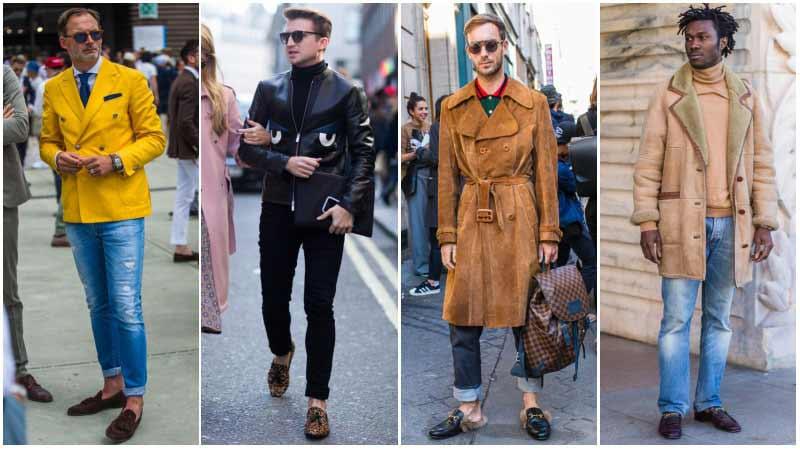 چند مرد با استایل های مختلف با کفش لوفر و شلوارجین