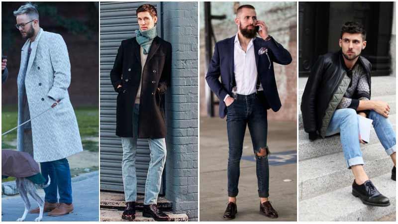چند مرد با استایل های مختلف با کفش آکسفوردو شلوارجین