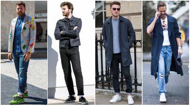 چند مرد با استایل های مختلف با کفش ترینر و شلوارجین