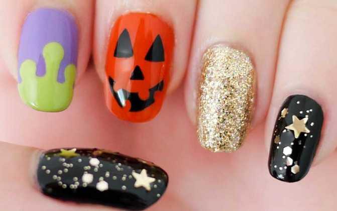 مدل طراحی ناخن کدو تنبل برای هالووین