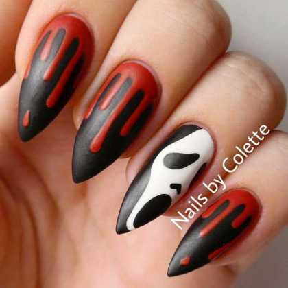 طرح ناخن قرمز و مشکی خونی برای هالووین