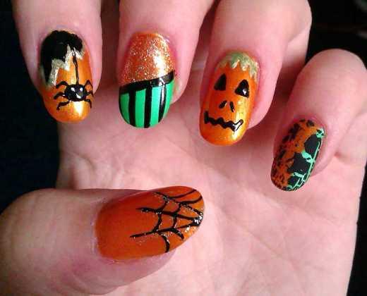 مدل ناخن کدو تنبل و عنکبوت برای هالووین