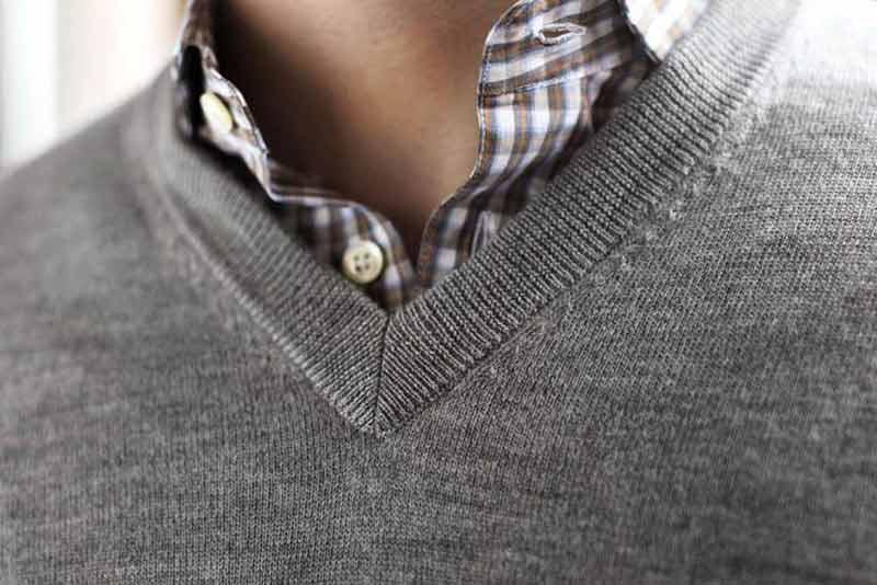 پلیور یقه هفت روزمره با پیراهن