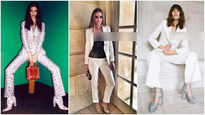 استایل 3 خانم با کت و شلوار زنانه سفید