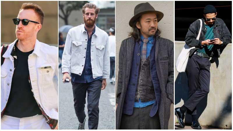 استایل 4 آقا با کت جین مردانه سفید و خاکستری