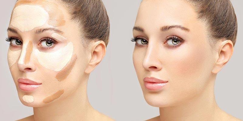صورت یک خانم قبل و بعد از کانتورینگ صورت