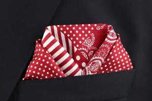 تای دستمال جیب کت مردانه به شکل گوش ماهی