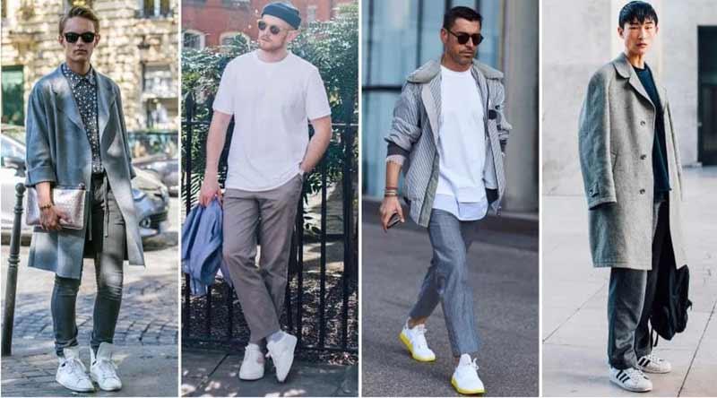 4 آقا با استایل های مختلف روزمره با شلوار طوسی