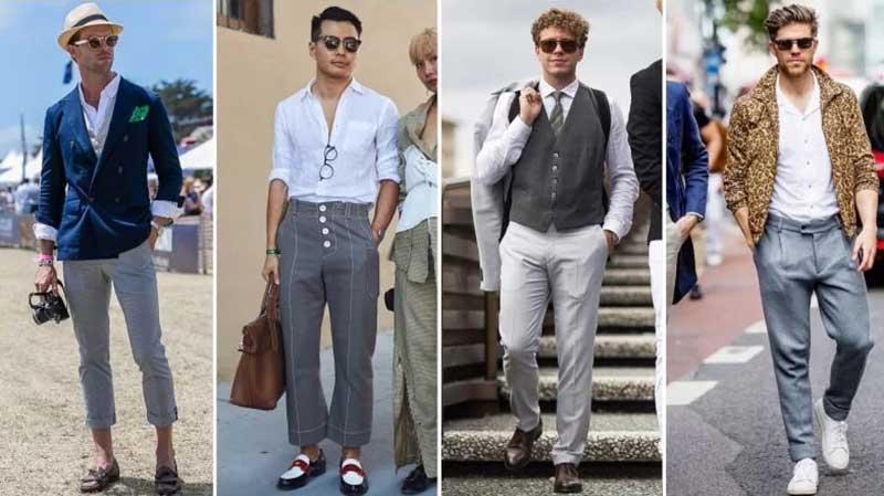 4 آقا با استایل های مختلف با عینک آقتابی و شلوار طوسی و پیراهن سفید