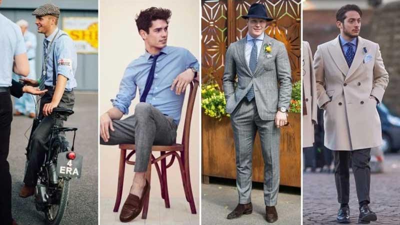 4 آقا با استایل های مختلف با شلوار طوسی و پیراهن آبی