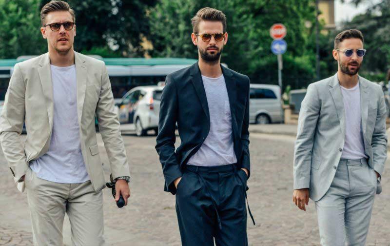 استایل سه آقا با کت تک و تی شرت