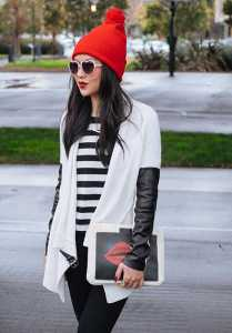 استایل مخصوص ولنتاین یک خانم با کلاه قرمز