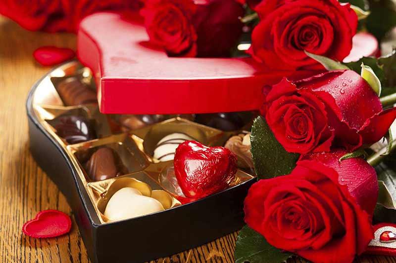 یک دسته گل رز قرمز و شکلات