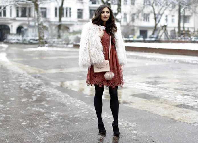 استایل یک خانم با پیراهن زنانه در زمستان
