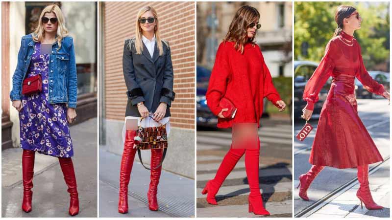 استایل یک خانم با بوت قرمز
