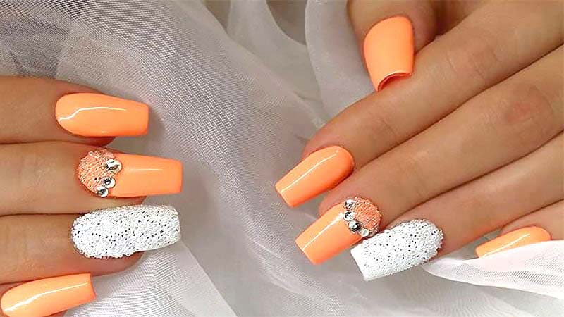 طراحی ناخن - لاک نارنجی
