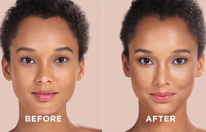 قبل و بعد از کانتورینگ صورت بیضی و کشیده