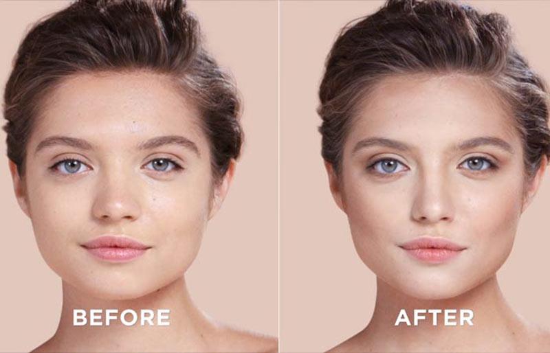 قبل و بعد از کانتورینگ صورت مربعی