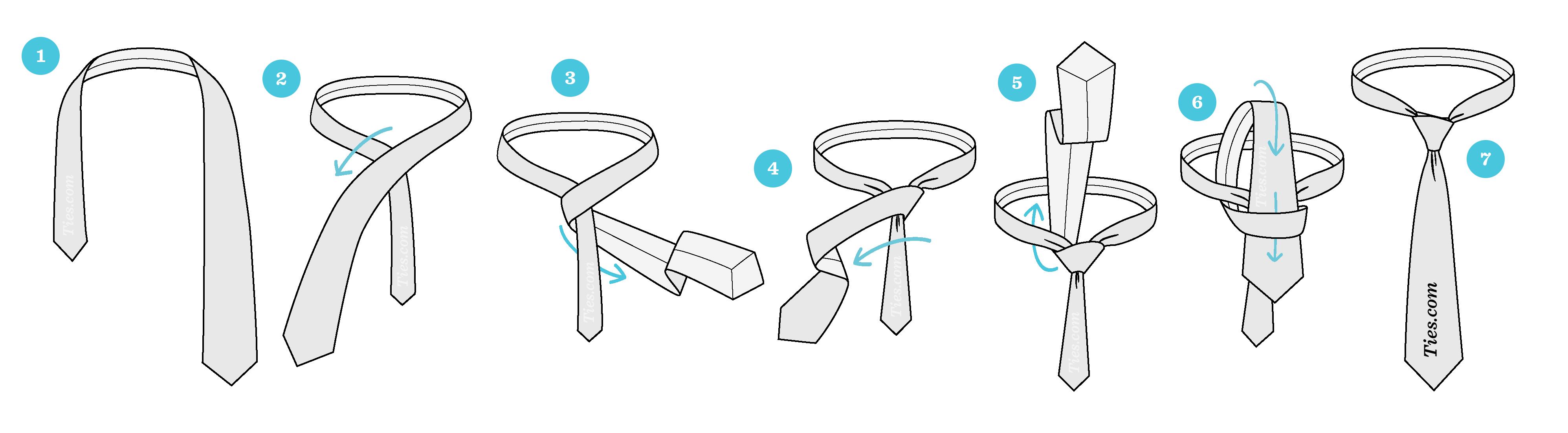 مراحل بستن کراوات یک گره