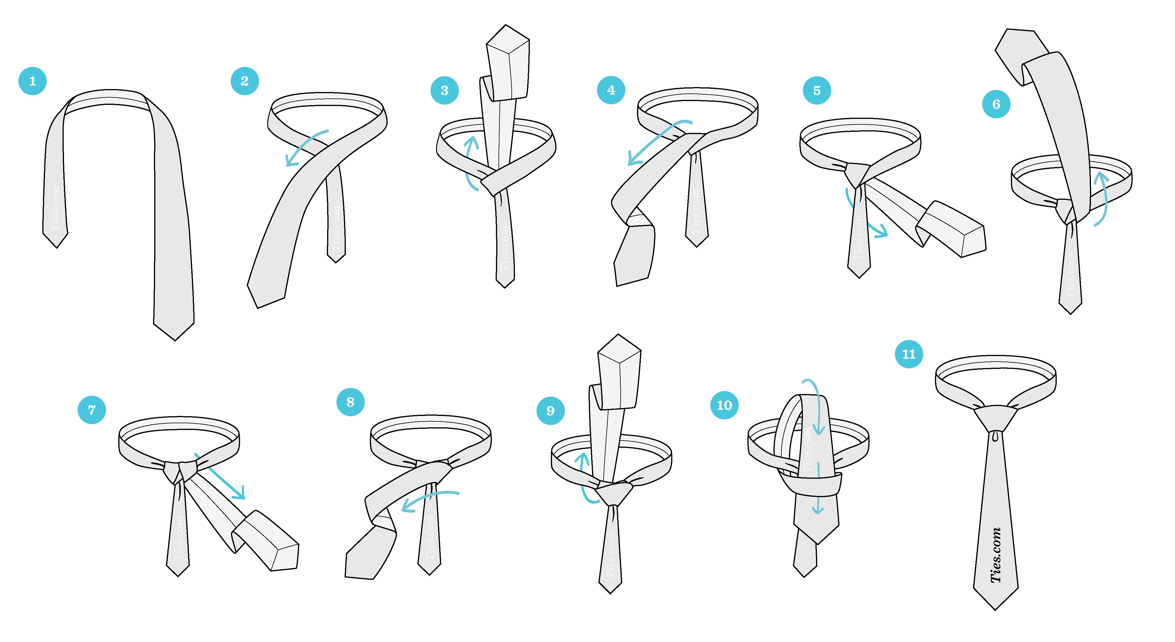مراحل بستن کراوات سه گره
