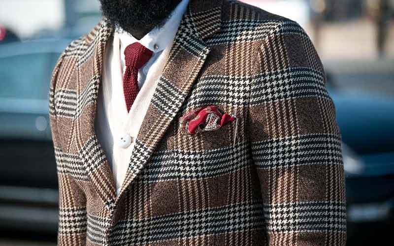کت با طرح چهارخانه قهوه ای و قرمز