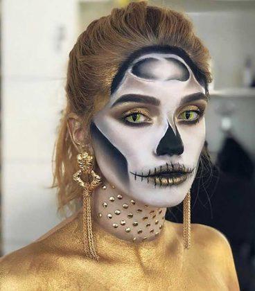 گریم اسکلتی سفید و مشکی برای هالووین