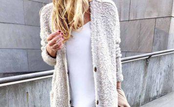 استایل جذاب با ژاکت بافت جلو باز زنانه کرم مناسب پاییز و زمستان