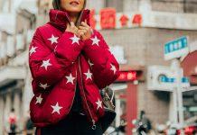استریت استایل با کاپشن پفی زنانه قرمز
