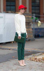 شلوار سبز با بلوز سفید