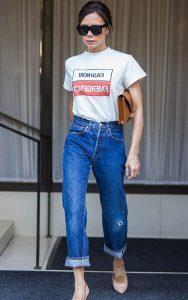 شلوار جین فاق بلند با تی شرت ساده سفید