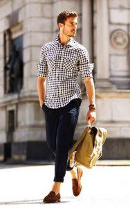 پیراهن مردانه چهارخانه سفید مشکی