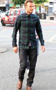 پیراهن مردانه شطرنجی سبز و سورمه ای