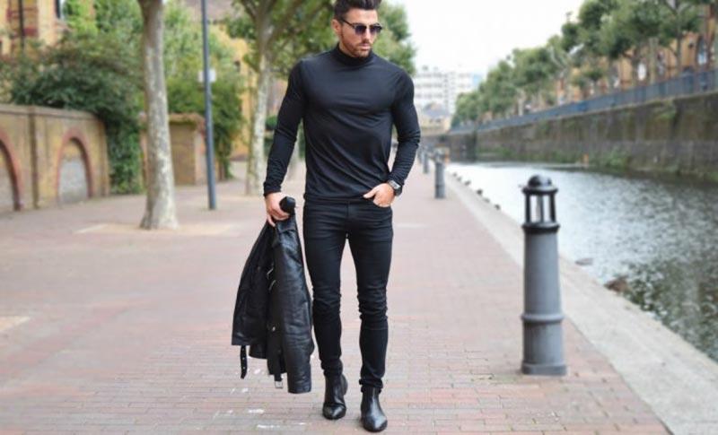 استایل یک آقا با شلوار جین چسبان مردانه مشکی