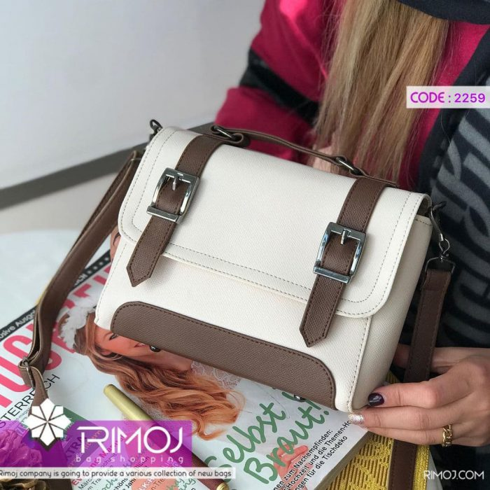 کیف دوشی سفید قهوه ای